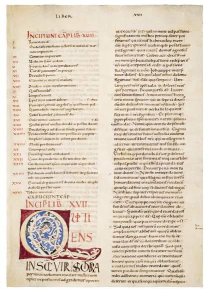 11th-century decorated initial Q, c. 1080-1100