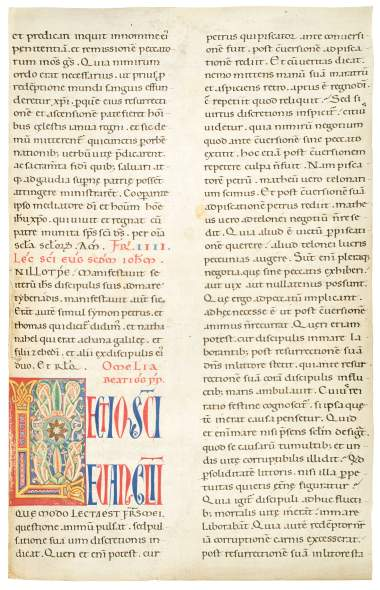 Circle of the Masters of the Pluteus Bible and of the Corbolinus Master, Early Tuscan decorated initial L, c 1175-1200
