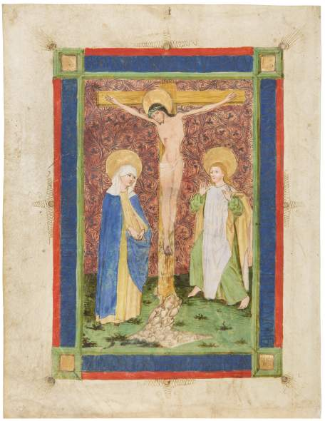 possibly by Johannes Bämler or one of his collaborators, Crucifixion with Mary and St. John, c. 1460