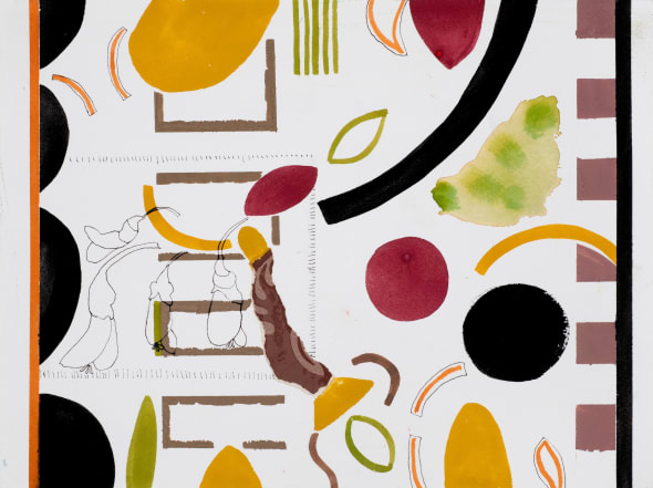 Fragments, ochre, black and pea plants