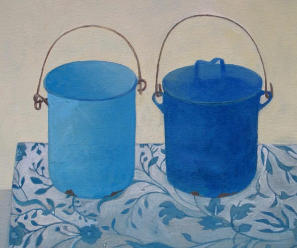Two Blue Canisters