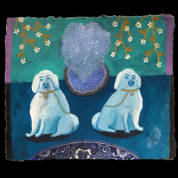 Blue Dogs with Fountain