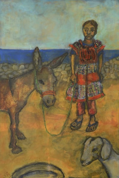 Girl with Donkey and Young Goat