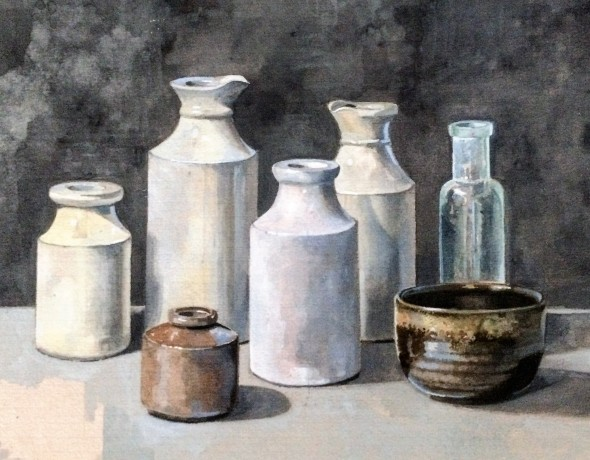 Still life with brown bowl