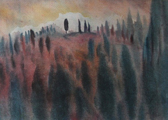 Tuscan Trees at Dusk