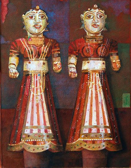 Two Wood Figures