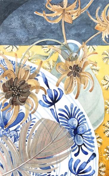 Delft, Calendula and Feather