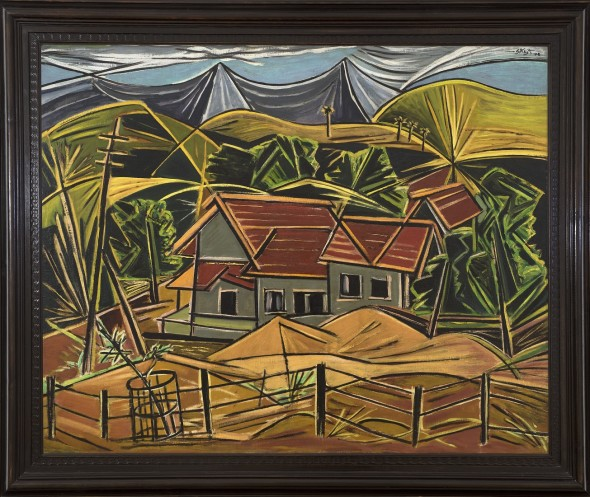 George Keyt 1901 - 1993Ambernath , 1948 Oil on canvas Signed 'G Keyt' and dated '48 upper right 99 x 122.5 cm 39 x 48 1/4 in