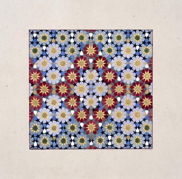 Elisabeth Deane b. 1985Diamond Weave, 2018 Gold leaf, platinum leaf, natural pigments and Arabic gum on handmade Indian paper 19.7 x 20.3 cm 7 3/4 x 8 in