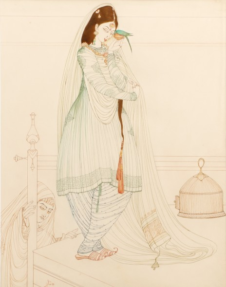 Abdur Rahman Chughtai, Maiden with a Parakeet, c.1967