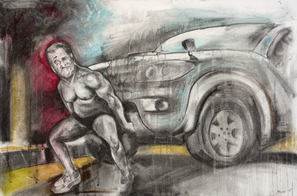 Jim Moir, Mel Gibson uses his great strength to shake water out of his carburetor in the terrible storm, 2016