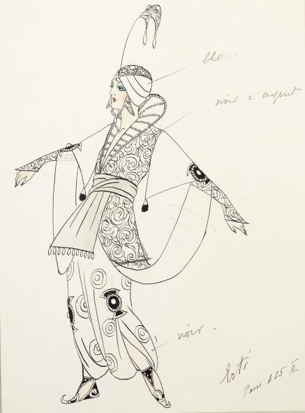 Romain de Tirtoff dit Erté, Costume for Mata Hari in Le Minaret , 1913