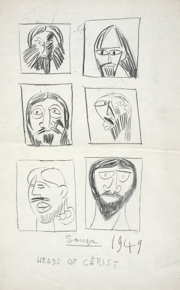 Francis Newton Souza, Heads of Christ (verso); Fighting figures (recto), 1949