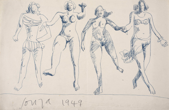 Francis Newton Souza, Untitled (Four Running Girls), 1949