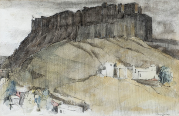 Gwalior Fort, Mid 20th Century Watercolour and pastel on paper Signed lower right 30.5 x 47.5 cm 12 1/8 x 18 3/4 in