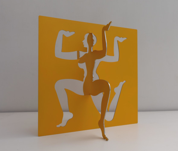 Dhruva Mistry b. 1957Sharad, 2014-12015 Yellow epoxy paint on 2mm stainless steel Signed and dated 'Sharad, Srad V2ls, Dhruva Mistry, 2014-15' 29.5 x 28.7 x 22.1 cm 11 5/8 x 11 1/4 x 8 3/4 in