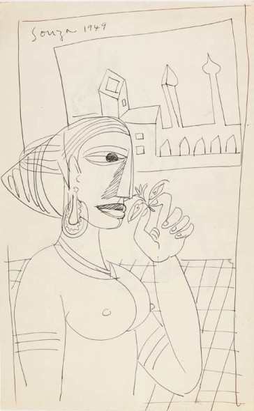 Francis Newton Souza, Untitled (Woman smelling flower) recto; Untltled (Horse) verso, 1949