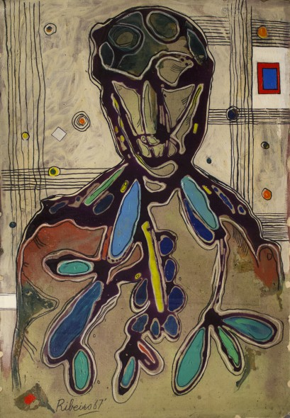 Lancelot Ribeiro 1933-2011(Untitled) Head with Patterned Shirt , 1967 Oil and polyvinyl acetate on canvas Signed and dated lower left 90.2 x 62.2 cm 35 1/2 x 24 1/2 in