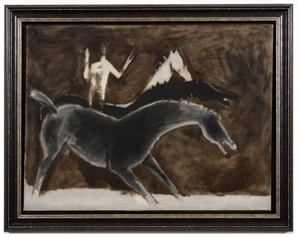 Maqbool Fida Husain, The Nude and Three Horses, 1960