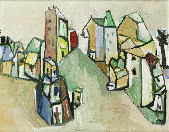 Sadanand K. Bakre 1920-2007Untitled (Cubist Townscape), 1962 Oil on canvas Signed and dated, verso signed and dated 30 x 45 cm 11 3/4 x 17 3/4 in