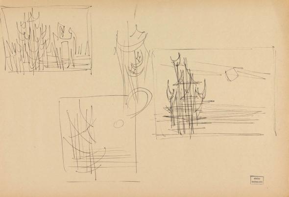 Syed Sadequain, Study for Judgement in Paris, c.1962