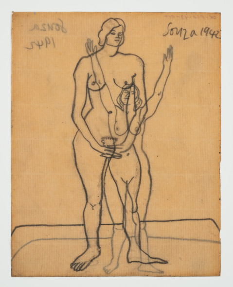 Francis Newton Souza, Untitled - (Standing Nude) recto ; Untitled (Nude ) verso, 1942