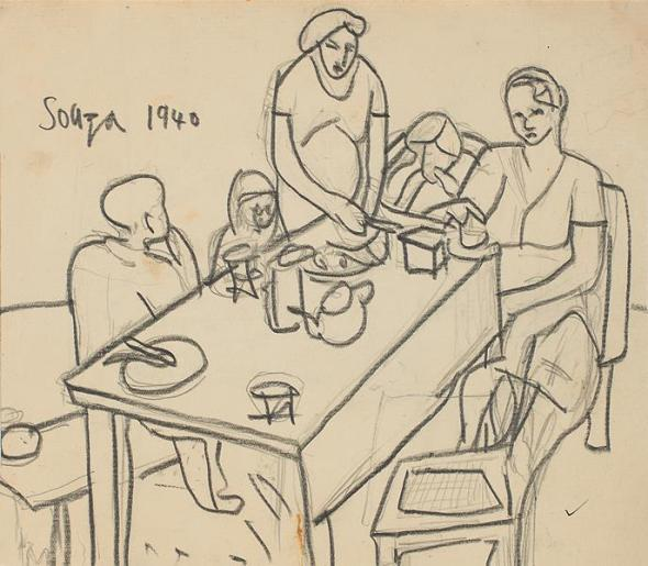 Francis Newton Souza, Untitled (Family), 1940