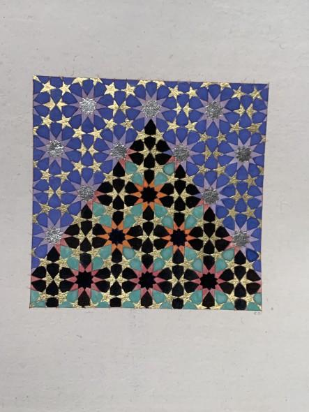 Elisabeth Deane b. 1985Mountain Stars II, 2019 Gold leaf, platinum leaf, natural pigments and Arabic gum on antique Indian paper 11.1 x 11.1 cm 4 3/8 x 4 3/8 in