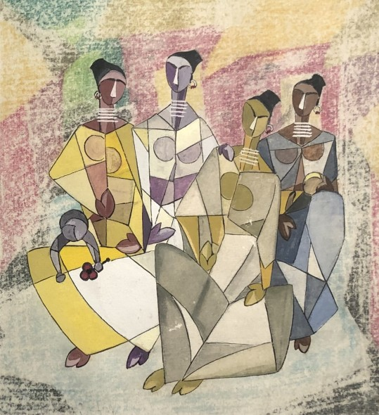Ibrahim Wagh 1932-2013Untitled (Four Seated Figures), c.1960 Gouache and mixed media on paper mounted on card Signed 'wagh.' lower right on the mount card 17 x 15.5 cm 6 3/4 x 6 1/8 in