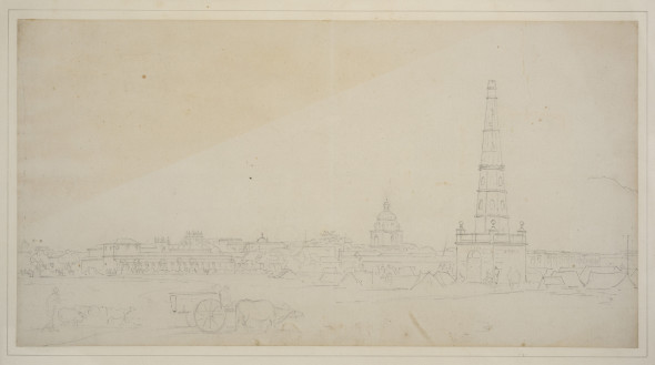 Thomas Daniell, R.A. (1749 – 1840) and William Daniell, R.A. (1769 – 1837) Part of Black Town, Circa 1793 Pencil on paper, laid down on paper within artists' lined border, inscribed 'Part of the Black Town/ Madras' on the reverse 28.5 x 54.5 cm 11 1/4 x 21 1/2 in