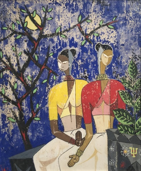 Ibrahim Wagh 1932-2013Untitled (Two Women with Trees), c.1960 Gouache and mixed media on paper Monogrammed lower left 20 x 16.5 cm 7 7/8 x 6 1/2 in