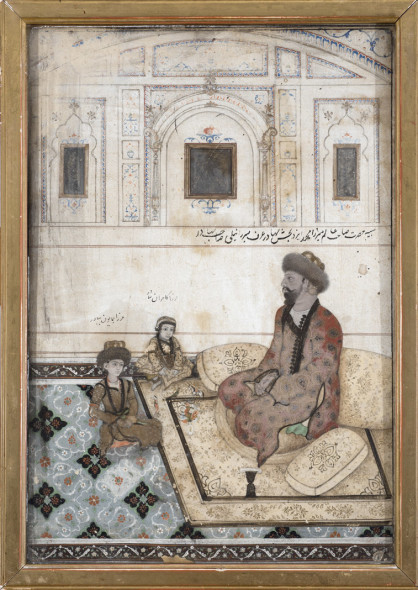The Mughal prince Mirza Nili Sahib Bahadur seated with his sons Mirza Kamran Bahadur and Mirza Humayun Bahadur in a palace chamber, circa 1880