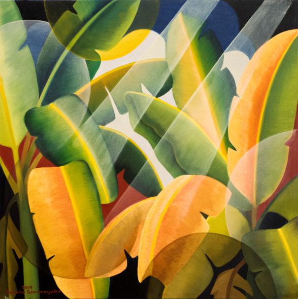 Senaka Senanayake b. 1951Banana Grove, 2019 Oil on canvas Signed and dated 76.2 x 76.2 cm 30 x 30 in