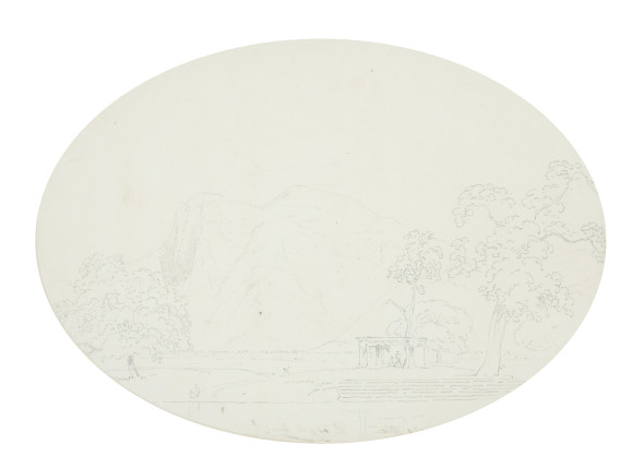 Thomas Daniell, R.A. (1749 – 1840) and William Daniell, R.A. (1769 – 1837) View of India, c.1790 Pencil on paper (oval) 26.5 x 37.5 cm 10 3/8 x 14 3/4 in
