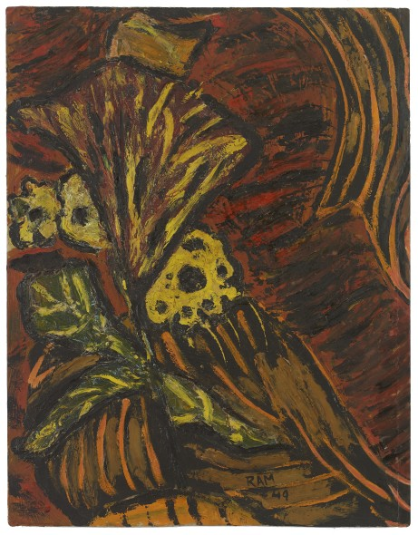 Ram Kumar 1924-2018Untitled (Still Life), 1949 Oil on card Signed and dated 'RAM/49' lower right, the reverse numbered in pencil '54' 47 x 36 cm 18 1/2 x 14 1/8 in