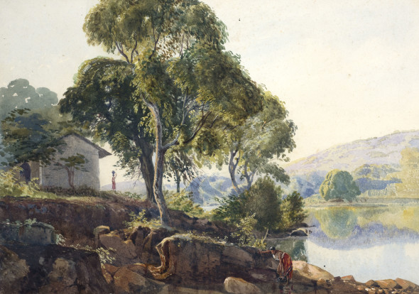 19th Century British Indian View with Lake Watercolour on paper 24.6 x 34.8 cm 9 3/4 x 13 3/4 in