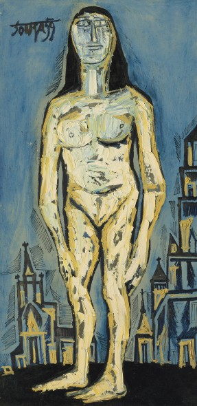 "Francis Newton Souza 1924-2002Standing Nude in City Background, 1959 Oil on board Signed and dated 'Souza 59' (upper left); further inscribed, titled and dated 'F. N. SOUZA / ""Standing nude / in city background"" / 1959' (on the reverse) 121.9 x 60.9 cm 48 x 24 in"