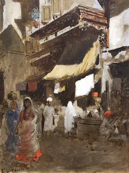 Edwin Lord Weeks 1849-1903Street Scene in Bombay Oil on board Signed E.L. Weeks, also inscribed on the reverse Please return to E.L. Weeks/ 128 Av. de Wagram, Paris 22 x 16 cm 8¾ x 6¼ inches Framed: 14¾ x 12½ (37.5 x 32 cm)