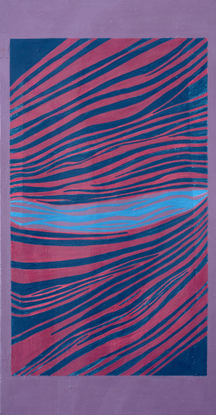 Lancelot Ribeiro 1933-2011Untitled, c.1978 Acrylic on canvas Stamped with the artist's signature on the reverse 54.6 x 27.9 cm 21 1/2 x 11 in