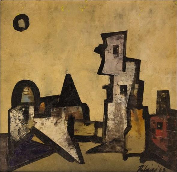 Lancelot Ribeiro, Angular Landscape with Sun, 1963