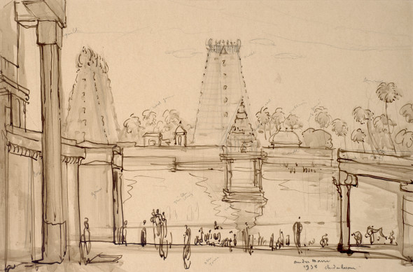 André Maire 1898-1984Chidambaram Temple, 1938 Ink and pencil on paper Signed, dated and titled lower right 36 x 54 cm 14 1/8 x 21 1/4 in