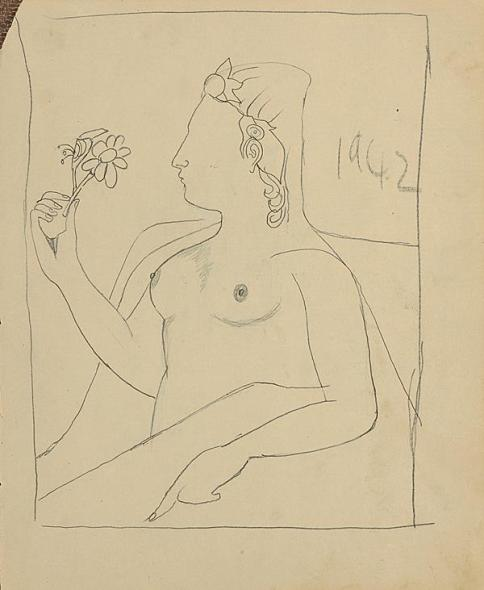 Francis Newton Souza, Untitled (Nude with a flower), 1942
