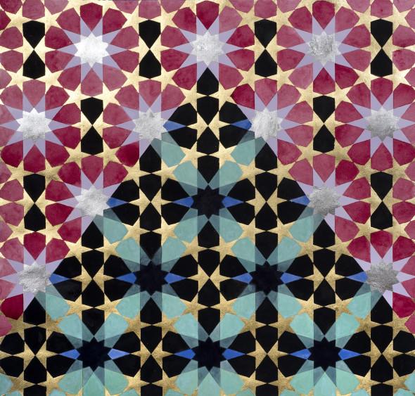 Elisabeth Deane b. 1985Mount Noor, 2019 Italian gold leaf, palladium leaf and natural pigments on linen 150 x 150 cm 59 1/8 x 59 1/8 in