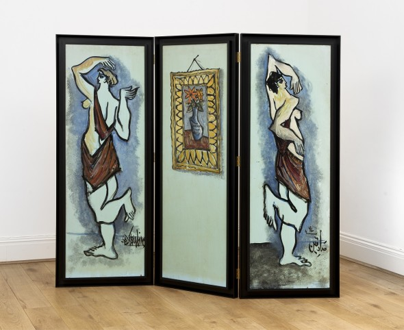 Syed Sadequain 1930-1987Untitled (Les Danseurs), 1967 Oil on wooden screen Signed on the first panel at the bottom right and signed and dated in Urdu on the third panel at the bottom right Each: 151 x 50.5 cm, (59 1/2 x 19 7/8 in) Total: 151 x 151.5 cm, (59 1/2 x 60 in)