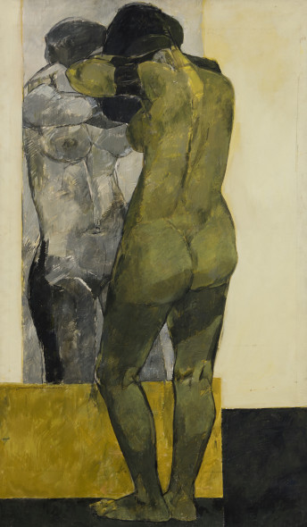 Jamil Naqsh b. 1939Standing Nude, c.1977 Oil on canvas Signed 'Jamil Naqsh Pakistan' lower left 150.8 x 88 cm 59 3/8 x 34 5/8 in