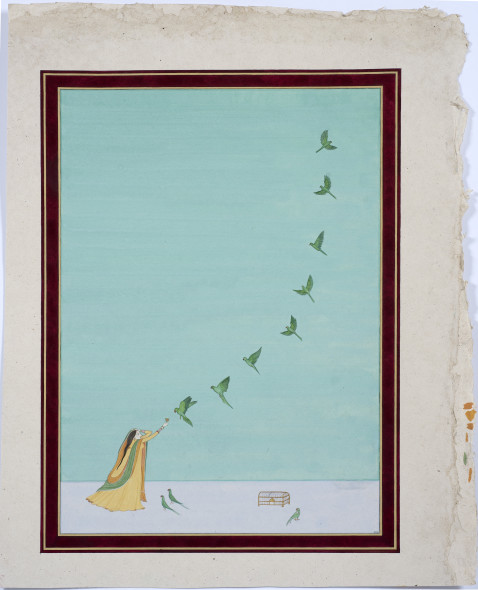 Elisabeth Deane b. 1985तोता (Parakeets of India), 2019 Gold leaf, natural pigments and Arabic gum on handmade Indian hemp paper 51.1 x 36 cm 20 1/8 x 14 1/8 in