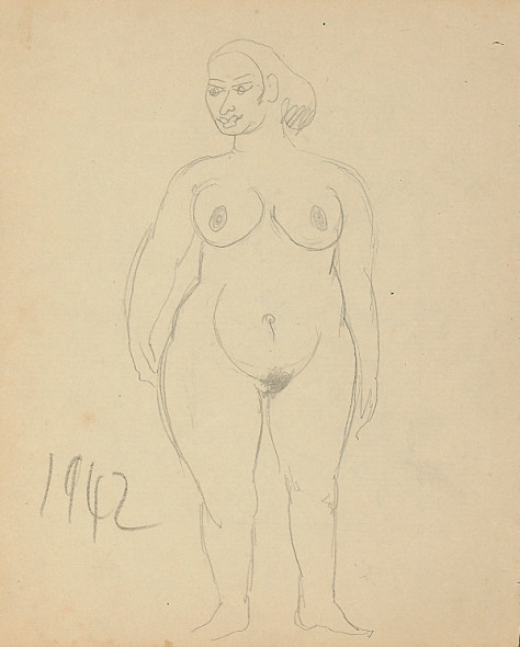 Francis Newton Souza, Untitled (nude lady), 1942