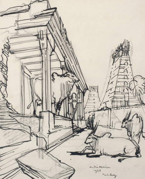 André Maire 1898-1984Pondicherry, 1938 Ink and pencil on paper Signed, dated and titled lower right 41.2 x 33.2 cm 16 1/4 x 13 1/8 in