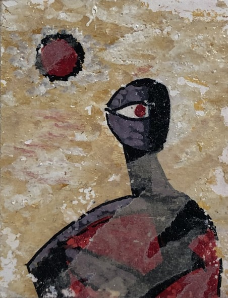 Ibrahim Wagh 1932-2013Untitled (Single Figure with Sun), c.1960 Mixed media on paper mounted on card Signed 'wagh.' on the mount card lower right 8.5 x 6.5 cm 3 3/8 x 2 1/2 in
