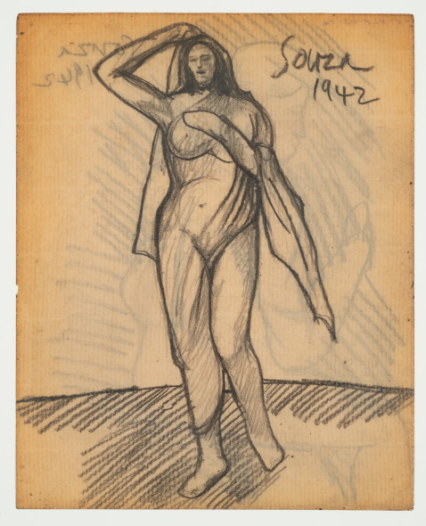Francis Newton Souza, Untitled (Standing Figure) recto ; Untitled (figure) verso, 1942